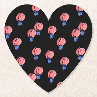 Air Balloons Heart Paper Coaster