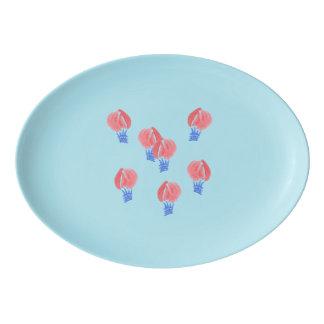 Air Balloons Porcelain Coupe Platter Porcelain Serving Platter