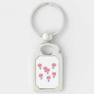 Air Balloons Rectangle Metal Keychain Silver-Colored Rectangle Key Ring