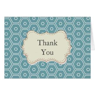 Air Blue Hexagons Thank you Note Card
