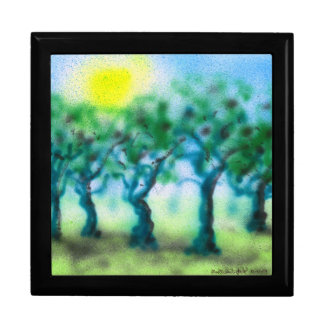 Air Brush Trees ... Black Enamel Gift Box
