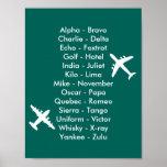 Air Cadet Pilot Air Traffic Alphabet Aeroplanes Poster