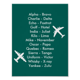 Air Cadet Pilot Air Traffic Alphabet Airplanes Poster