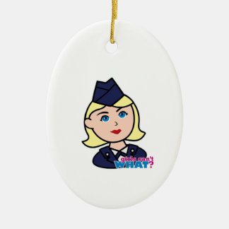 Air Force Blonde Head Ceramic Oval Decoration