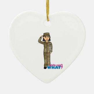 Air Force Camo Black Hair Ceramic Heart Decoration