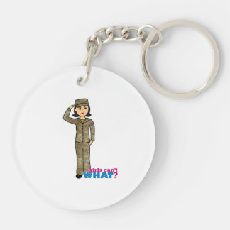 Air Force Camo Black Hair Double-Sided Round Acrylic Key Ring
