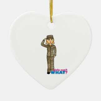 Air Force Camo Blonde Ceramic Heart Decoration