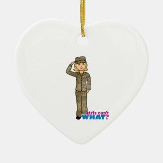 Air Force Camo Blonde Ceramic Heart Decoration