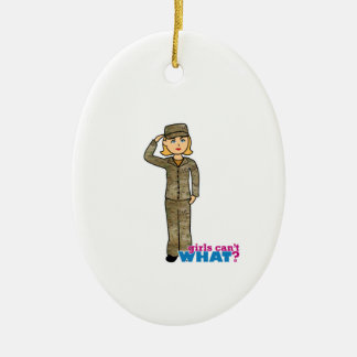 Air Force Camo Blonde Double-Sided Oval Ceramic Christmas Ornament