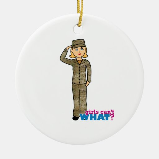 Air Force Camo Blonde Christmas Tree Ornament