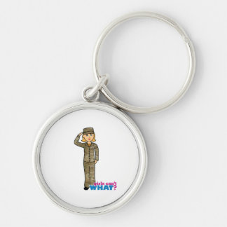 Air Force Camo Blonde Silver-Colored Round Key Ring
