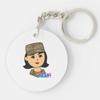 Air Force Camo Head Medium Double-Sided Round Acrylic Key Ring