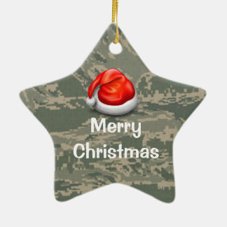 Air Force Camo Star Merry Christmas Ornament