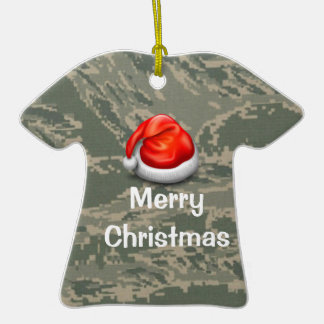 Air Force Camo T-shirt Merry Christmas Ornament