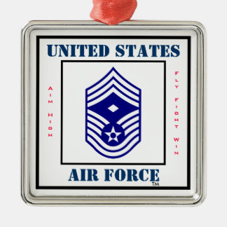 Air Force CMSgt - First Sergeant - E-9 Silver-Colored Square Decoration