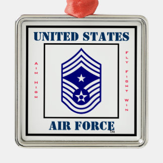 Air Force Command CMSgt - E-9 Silver-Colored Square Decoration