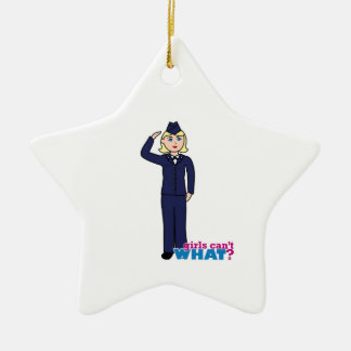 Air Force Dress Blues Light Double-Sided Star Ceramic Christmas Ornament