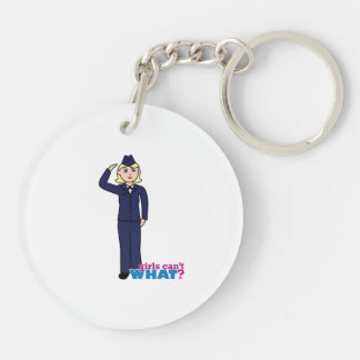 Air Force Dress Blues Light Double-Sided Round Acrylic Key Ring