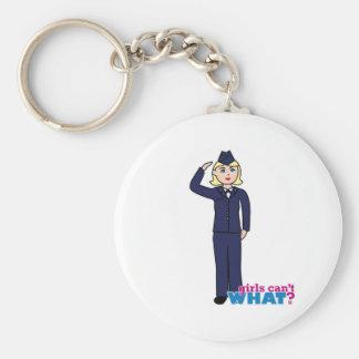 Air Force Dress Blues Light Basic Round Button Key Ring