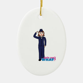 Air Force Girl Ceramic Oval Decoration