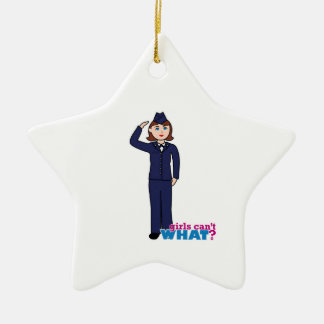 Air Force Girl Double-Sided Star Ceramic Christmas Ornament