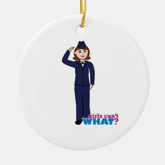 Air Force Girl Double-Sided Ceramic Round Christmas Ornament