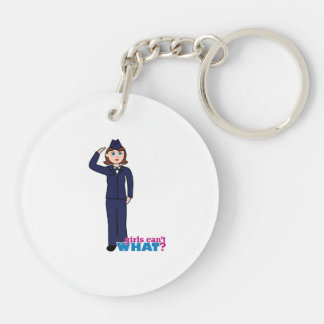 Air Force Girl Double-Sided Round Acrylic Key Ring