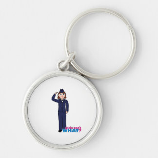 Air Force Girl Silver-Colored Round Key Ring
