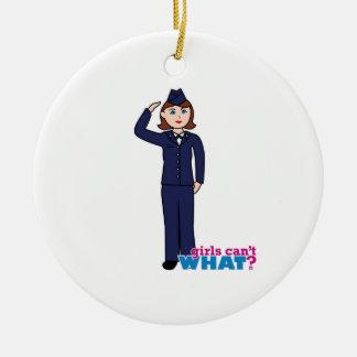 Air Force Girl Round Ceramic Decoration