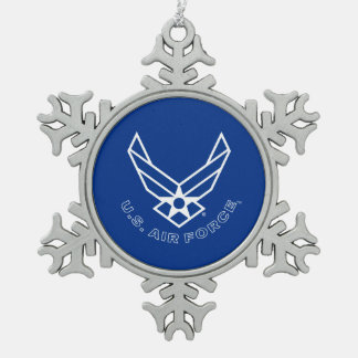 Air Force Logo - Blue Snowflake Pewter Christmas Ornament