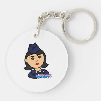 Air Force Medium Head Double-Sided Round Acrylic Key Ring