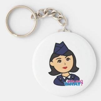 Air Force Medium Head Basic Round Button Key Ring