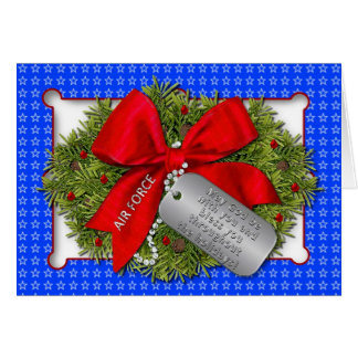 AIR FORCE MILITARY HOLIDAY - CHRISTMAS WREATH GREETING CARD