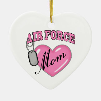 Air Force Mom Heart N Dog Tag Christmas Ornament