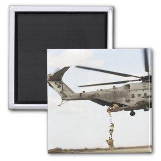 Air Force pararescuemen conduct a combat insert 4 Square Magnet