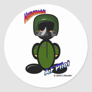Air Force Pilot (with logos) Classic Round Sticker