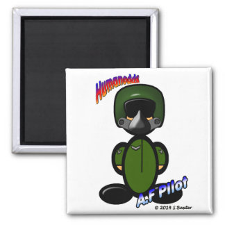 Air Force Pilot (with logos) Square Magnet