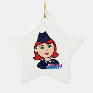Air Force Red Head Ceramic Star Decoration