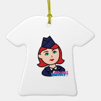 Air Force Red Head Double-Sided T-Shirt Ceramic Christmas Ornament