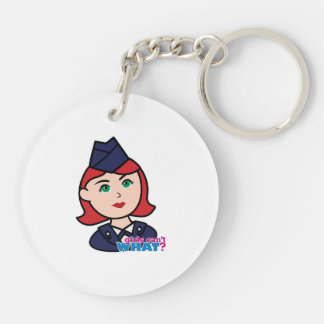 Air Force Red Head Double-Sided Round Acrylic Key Ring