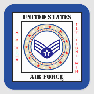 Air Force Senior Airman SrA E-4 Square Sticker