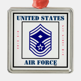 Air Force SMSgt  First Sergeant  - E-8 Silver-Colored Square Decoration