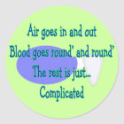 Air Goes and Out...The Rest is Complicated Classic Round Sticker