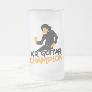 Air Guitar Champion design Frosted Glass Mug