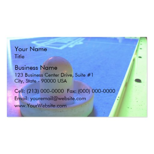 Air Hockey table and mallet with neon lighting Business Card