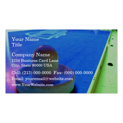 Air Hockey table and mallet with neon lighting Business Card Template