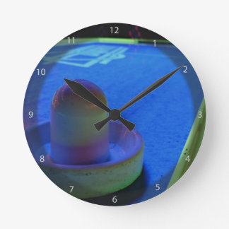 Air Hockey table and mallet with neon lighting Round Clock