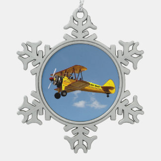 Air Mail Biplane Snowflake Pewter Christmas Ornament