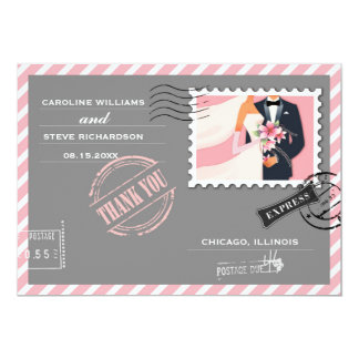 Air Mail Design Wedding Thank You Custom Cards 13 Cm X 18 Cm Invitation Card