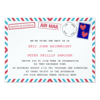 Air Mail Gay Wedding In Australia Invitations